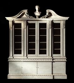 Hackwood House bookcase--impt GIII white-painted architectural breakfront, design attr J. Vardy, carving attr T. Vardy, 9'Hx8.5'Wx23D (Godson)