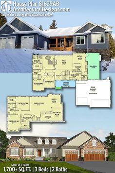 Plan 81629ab Single Story Living With Expansion Below House Blueprints Dream House Plans Architectural Design House Plans