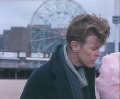 Bowie enjoying some cotton candy in The Linguini Incident  #davidbowie #Bowie #davidbowieforever #thelinguiniincident