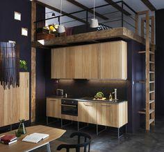 Esprit loft et bois brut dans cette cuisine Ikea Metod - Les nouvelles cuisines Ikea 2014 en 40 photos - CôtéMaison.fr
