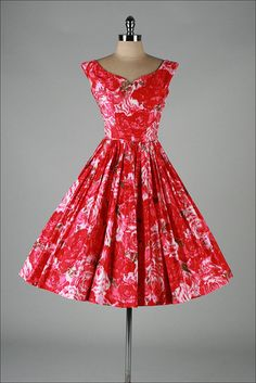 vintage 1950s dress . ikat floral . pink by millstreetvintage Vintage  Outfits 5f63e25c3a7e4