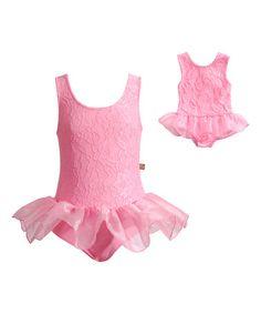 Look at this #zulilyfind! Pink Lace Skirted Leotard & Doll Leotard - Girls by Dollie & Me #zulilyfinds