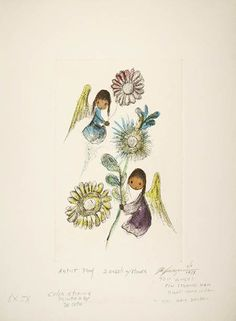 """DeGrazia's color etchings are available for purchase. """"Two Angels with Flowers"""" is a limited edition color etching hand printed in 1981. This etching contains six different colors. For more information please visit http://degrazia.org/shop/two-angels-with-flowers/ or call 1-800-545-2185"""