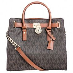 3884da8b1de4 Michael Kors Hamilton Large North South Brown Logo Tote Bag   Handbagsmichaelkors