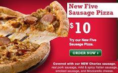New at Papa John's, the Five Sausage Pizza featuring chorizo, pork sausage, mild and spicy Italian sausage and smoked sausage. Availa...