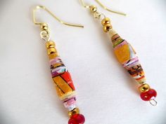 Colorful Paper Earrings by stellaspetals on Etsy