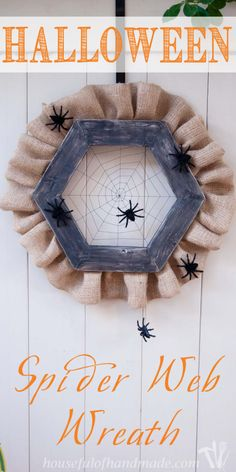 Halloween Spider Web Wreath is the perfect craft idea for the front door.