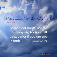 Keep your faith up and all will be okay! #IslamicQuotes #Islam #Faith