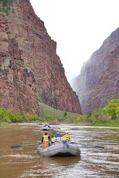 Canyon walls beckon this trio of rafts forward, a visible air of mystery wafting outward. #cataractoars #extremeoars #rafting www.cataractoars.com