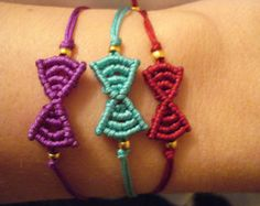 Tiny bow bracelet, Macrame bow bracelet, Friendship bracelets, Stackable jewelry, Gift for her, Bow jewelry, Tie the knot bracelet.