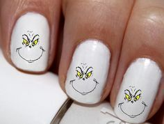 20 pc How The Grinch Stole Christmas Grinch Face Outline Winter Season Nail Art Nail Decals #cg2710na