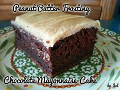 Chocolate mayonaise cake and peanut butter frosting