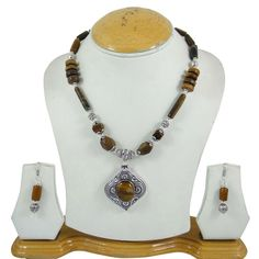 Silver Tone Brass Metal Tiger Eye Stone Beaded Necklace Set Fashion Jewellery #iba #NotSpecified