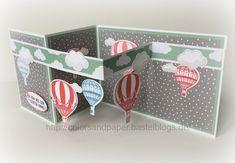 """Ich möchte Euch in der nächsten Zeit die Sale-A-Bration-Artikel vorstellen. Heute habe ich das Designerpapier """"Traum vom Fliegen"""" ausgesucht. Das Designerpapier passt hervorragend zum Produktpaket """"Abgehoben"""". Daraus habe ich zwei Karten gefertigt, die ich euch heute zeigen möchte. Etwas aufwendiger ist die … Weiterlesen → Z Cards, Step Cards, Pop Up Cards, Kids Cards, Stampin Up Karten, Karten Diy, Stampin Up Cards, Fancy Fold Cards, Folded Cards"""