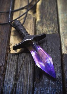 "Pendant Crystal Sword ""Galaxy"">> Nico's sword be like Pretty Knives, Cool Knives, Swords And Daggers, Knives And Swords, Resin Crafts, Resin Art, Crystal Sword, Crystal Resin, Fantasy Weapons"