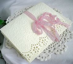 Custom Wedding Invitation Ivory Embossed Note Cards and Envelopes, Shabby Chic, 25 Card Set