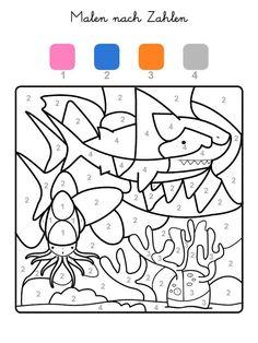 Die Felder mit der Zahl 1 werden rosa, Felder mit der Zahl 2 blau, die mit der Zahl 3 orange und alle mit der Zahl 4 grau ausgemalt. Wenn Ihr Kind das ganze Motiv ausgemalt hat, kommt ein Hai zum Vorschein!