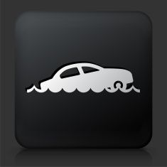 Black Square Button with Sinking Car vector art illustration