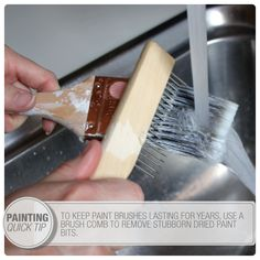 Use a brush comb after each use to help you scrape dried bits of paint out of your brush. Your brushes will last longer #paint #tip #painting | From The Home Depot Apron blog