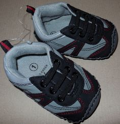 NWT BABY BOY SHOES  FALLS CREEK BABY CRIB SHOES GRAY SIZE 1 #FallsCreekBaby #CribShoes Baby Crib Shoes, Baby Boy Accessories, Baby Boy Cribs, Falls Creek, Fall Shoes, Gray, Best Deals, Boys, Sneakers