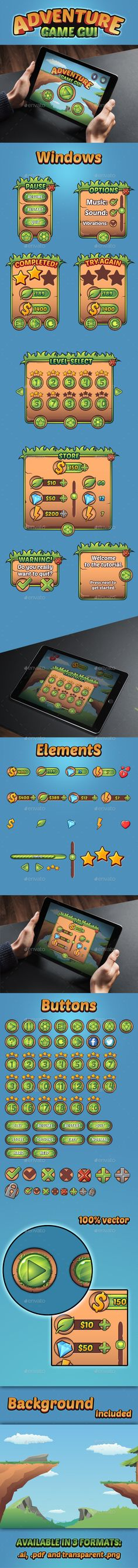 Adventure Game GUI - User Interfaces #Game #Assets | Download…