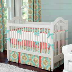 If there's a 2nd baby... Coral and Aqua Medallion Baby Crib Bedding #carouseldesigns