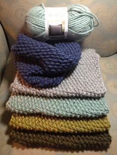 """One Skein Cowl Scarves! Using Bernat 'Roving' yarn & 13"""" circular needles, cast on 49 sts & knit seed/moss stitch until you almost run out of yarn. Leave enough to cast off, sew in the ends of the yarn to finish. Super easy :) by diana.gosser"""