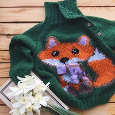 Свитер с вышивкой Sweater cross stitch Свитер с лисой Fox cross stitch