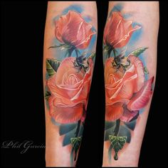 Another Phil Garcia original.... Translucent style peach roses and dewy leaves with a fuzzy bumblebee... Gorgeous