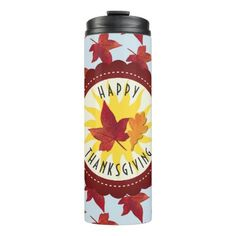 Happy Thanksgiving Sky and Fall Leaves Thermal Tumbler - fall decor diy customize special cyo