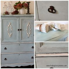 Antique dresser painted in MMS Milk Paint (Eulalie's Sky) with White Wax.  Details and drawers in Old White chalk paint.