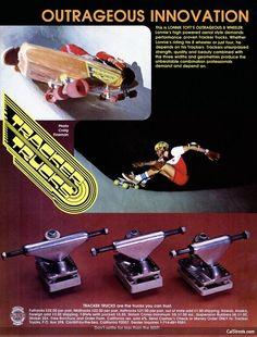 Tracker Trucks-we only use these at Far Out Skateboards Old School Skateboards, Vintage Skateboards, Lords Of Dogtown, Skate Photos, Skate And Destroy, Cool Tee Shirts, Skate Surf, Skateboard Decks, Thrasher
