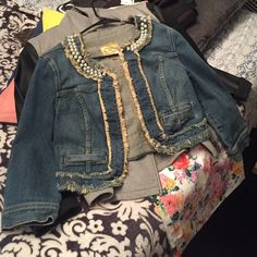 Worn style denim jacket with pearl collar detail Good condition Vera Wang Jackets & Coats Jean Jackets
