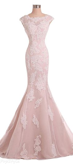2016 Custom Charming Pink Lace Wedding Dress, Appliques Beading Evening Dress…