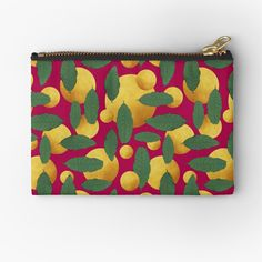 'Leaves and golden orb abstract' Zipper Pouch by Amanda D-Hay Iphone Wallet, Zipper Pouch, Coin Purse, My Arts, Leaves, Art Prints, Abstract, Printed, Awesome