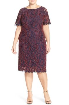 Adrianna Papell Flutter Sleeve Lace Shift Dress (Plus Size) available at #Nordstrom