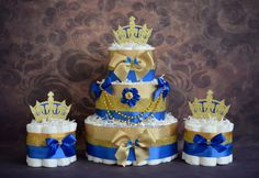 This unique Royal diaper cake will make a perfect centerpiece to welcome a…