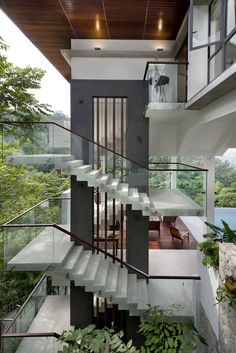 61 unique modern staircase design ideas for your dream house Home Stairs Design, Dream Home Design, Modern House Design, Interior Modern, Best Interior Design, Asian Interior, Home Interior, Asian House, Modern Staircase