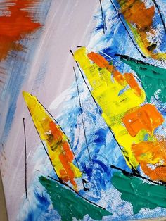Dreamboats - Ζωγραφική, 24x30x2 cm ©2018 από EP - Μοντερνισμός, Βαμβάκι, Καμβάς Abstract, Gallery, Artwork, Painting, Art Work, Work Of Art, Auguste Rodin Artwork, Painting Art, Paintings