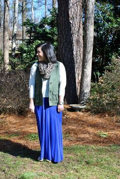 How to Wear a Maxi Skirt in the Winter- flats, scarf, sweater, and a vest