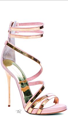 Pink & Green Essence ✦ 6 Ermanno Scervino ● SS 2014, Jewel sandals with gilded metal appliqués ✦ ✦ https://www.pinterest.com/sclarkjordan/pink-green-essence/