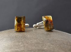 Amber Cuff Links with Sterling Silver, Natural Cuff links, Wedding Mens Accessory, Business Wear For Men, stone cufflinks Amber Necklace, Amber Jewelry, Business Wear, Natural Forms, Baltic Amber, Cufflinks, Pendants, Sterling Silver, Stone