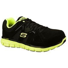 Skechers Men's Synergy-Flex Gripper Slip Resistant Alloy Toe Sneakers (Black/Lime) - 9.5 M