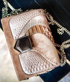 ef267c9cf30 Jimmy Choo Ballet Pink Mix Suede Shoulder Bag with Exotic Patchwork You  Look