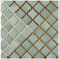 Merola Tile Hudson Tangier Mint Green in. x 5 mm Porcelain Mosaic Tile at The Home Depot - Mobile Arabesque Tile, Peel And Stick Tile, Mosaic Tiles, Green Tile Backsplash, Green Tiles, Mosaic Mirrors, Mosaic Art, Mosaic Patterns, Tile Design