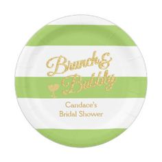 Lime and White Stripe Bridal Shower Paper Plate