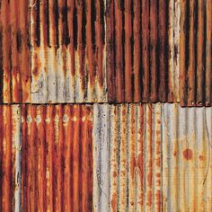 Oranges & Lemons Close up of colourful corrugated iron on a Hampshire shed in May Rusty Metal, Corrugated Metal, Brick Paper, Oranges And Lemons, Art Techniques, Hampshire, Painting Inspiration, Diecast, Backdrops