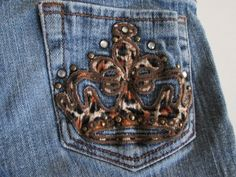 Girls Squeeze Blue Jeans Sz 10 Threaded Crown Rhinestone Patch On Pocket  #Squeeze #SlimSkinny #Everyday