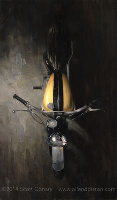 Scott Conary: The Motorcycle. Paintings and prints. Artwork and ideas. Motorcycle Art, Bike Art, Vintage Prints, Vintage Shops, Moto Wallpapers, Bike Sketch, Cafe Racer Bikes, Retail Store Design, Automotive Art