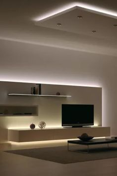 EShine Make your contemporary home look more elegant with this Living Room LED Lighting design idea! Home Room Design, Home Interior Design, Led Living Room Lights, Home Lighting Design, Living Room Lighting Design, Living Room Tv Unit Designs, House Rooms, Home Living Room, Elegant